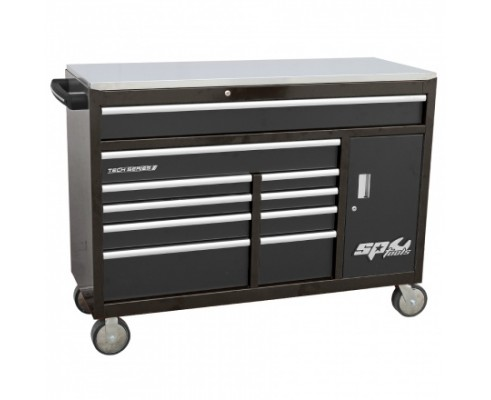 TECH SERIES Roller Cabinet Tool Box with cupboard - 10 Drawer - Black
